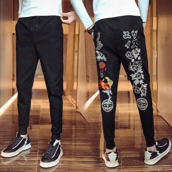 2019 New Style Autumn Casual Ankle Banded Pants Online Celebrity Cool Pants Men's Korean-style Trend Social Lively Fella Skinny