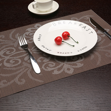 modern 2/4/6pcs set Kitchen Table Mats Brown Frame Pattern PVC Nil Decorative Placemats Insulation Pads
