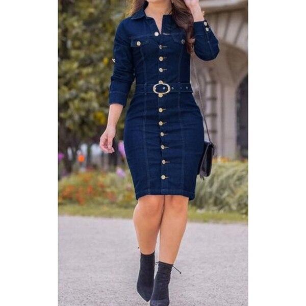 Yskkt Denim Dress Women Button Knee Length Spring Autumn Vintage Vestidos Robe Casual Slim Ladies Office Dress Shirt Jeans Dress 8