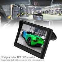 Coche de 5 pulgadas Monitor LCD TFT 16:9 Pantalla de 800x480 de 2 de entrada de vídeo para Vista trasera Cámara reversa de respaldo DVD VCD