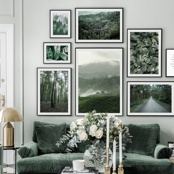 Forest Road Mountain Bridge Banana Leaf Wall Art Canvas Painting Nordic Posters And Prints Wall Pictures For Living Room Decor blue sky snow mountain forest landscape wall art canvas painting nordic posters and prints wall pictures for living room decor