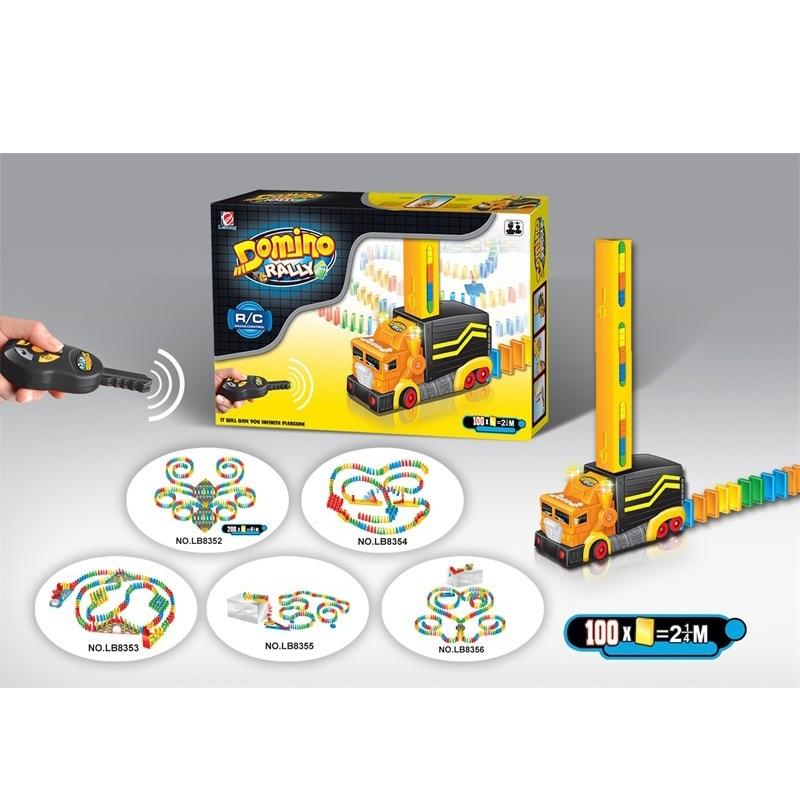 Electric Lights Remote Control Domino Game Dominoes Train Arch Bridge Case Infant Children Building Plastic Toy