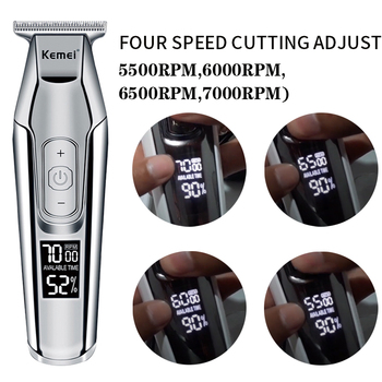 Kemei professional hair clipper beard trimmer men's hair trimmer LCD digital display 0mm cordless haircut electric razor 5 1