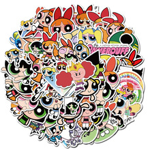 74Pcs/Pack Cartoon Powerpuff Girls Stickers For Skateboard Suitcase Guitar Luggage Laptop Phone Waterproof Stickers Classic Toy