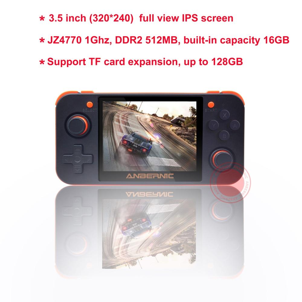 ANBERNIC nuevo juego Retro RG350 consola de videojuegos portátil MINI 64 Bit 3,5 pulgadas pantalla IPS 16G + 32G TF jugador de juegos RG 350 PS1 - 3