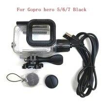 Spor kamera aksesuarları şarj su geçirmez kılıf için Gopro Hero 7 6 5 siyah şarj cihazı kabuk/çerçeve konut + USB kablo motosiklet