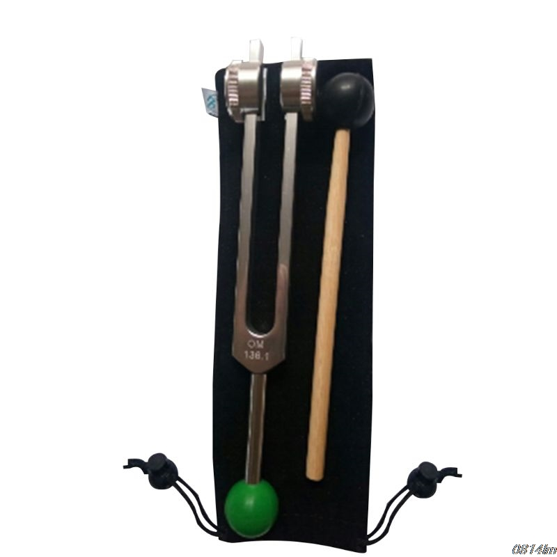OM Tuning Fork 136.1 HZ Weighted - With Buddha Bead Base For Ultimate Healing And Relaxation - Green For Heart Chakra