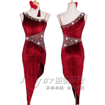 цена на Latin Dance Dress Competition Dress Costumes Skirt Performing Dress Stretch Velvet Adult Customize Children Wind Red Slim Fit N