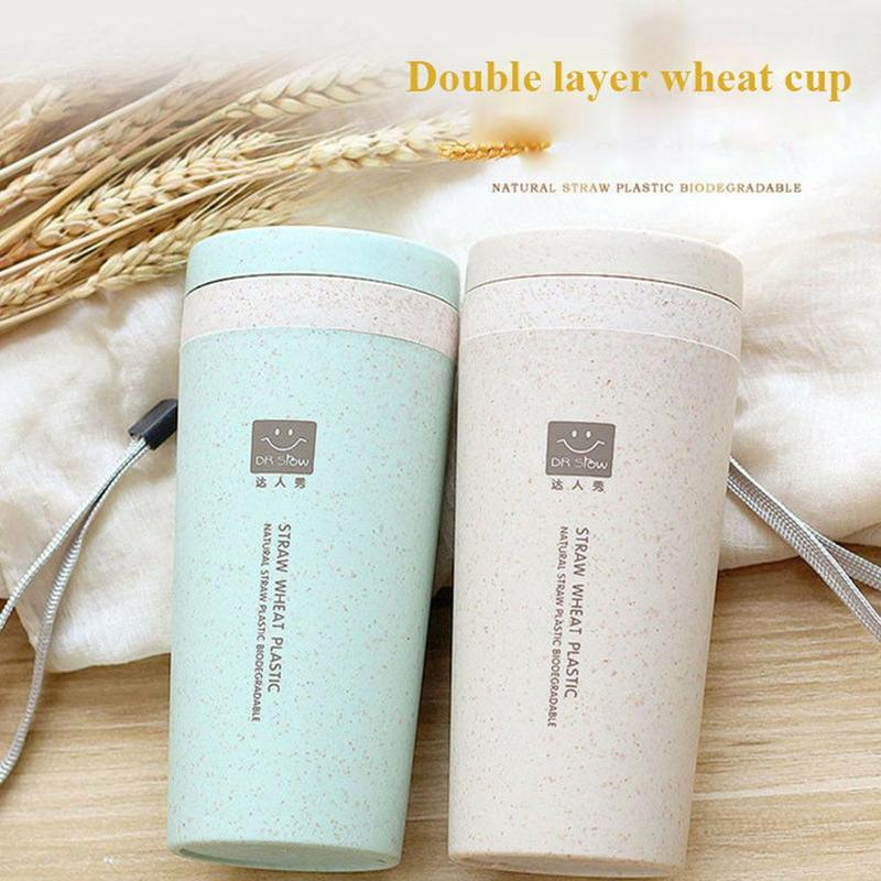 1piece Portable 300ml Creative Wheat Straw Double Layer Insulation Portable Portable Office Student Open Cup Travel Cup