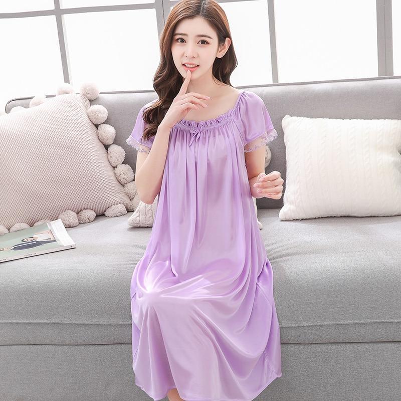 Women's Sleepwear Women's Silk Short Sleeved Sexy Nightdress Imitated Silk Fabric Thin Sweet Home Wear-Outerwe