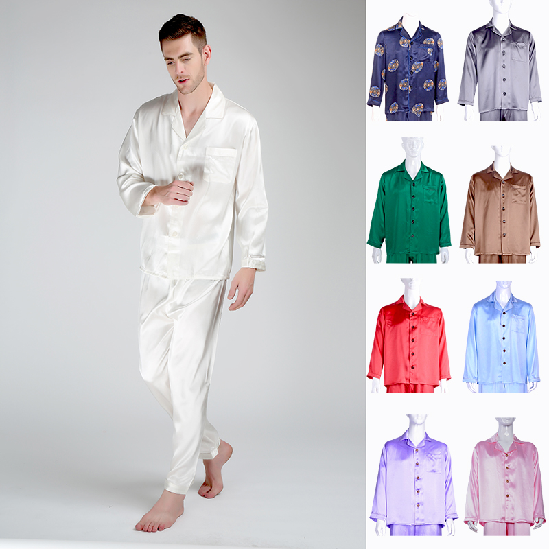 Pajamas-Set Trousers Nightshirt Lounge-Pants Silk Long-Sleeve Men's 30-Momme Mulberry