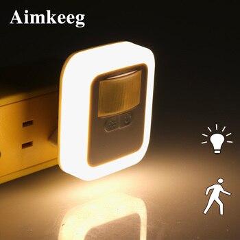 цена на LED Sound Light Control Sensor Smart Home Night Lamp Plug-in Motion Sensor Light Dimmable Wall Night Lamp Stair Closet Lights