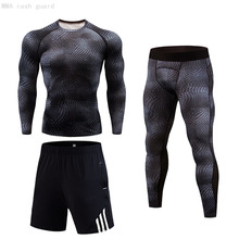 T-Shirt Tracksuit Men Jogging Sport Tight Shorts MMA Gym Running Men's New 3-Pc/Set