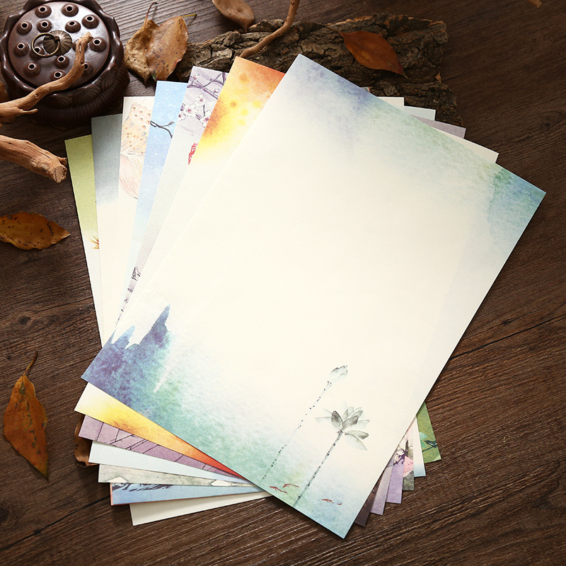 8Pcs Letter Paper Chinese Landscape Painting Vintage Writing Paper Kids Friend Gift Card Stationery School Office Write Supplies