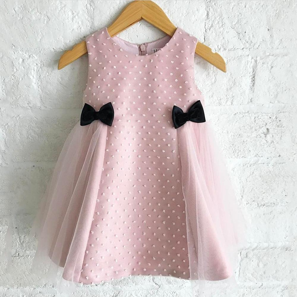PatPat 2020 New Spring and Summer Baby Girls 0 to 2 Years Old Sleeveless Bow Mesh Sleeveless Dresses Baby Kids Clothes