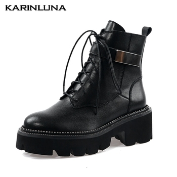 Karinluna New Brand large Size 42 Genuine Leather Motorcycles Boots Women Chunky Heels Ankle Boots Woman Shoes Boots