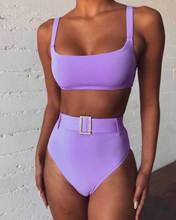 High Waist Bikini Solid Purple High Leg Rhinestone Belt Swimsuit Beach Bathing Suit Push Up Padded Two Piece Swimwear Biquini