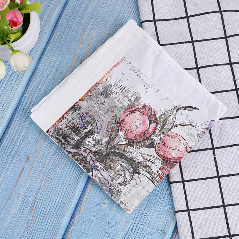 20pcs/1Bag Napkins Paper Flower Pattern Decoupage Napkin Paper Tissue For Xmas Wedding Decor
