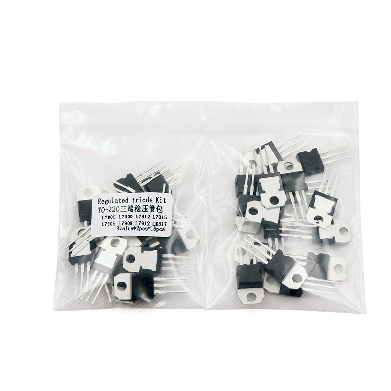 8 Types 7805 7809 7812 7815 7905 7912 7915 LM317 to-220 Transistor Assortment Kit Set Transistor Set,7805 Transistor 7812 Transistor 40pcs Transistor Kit