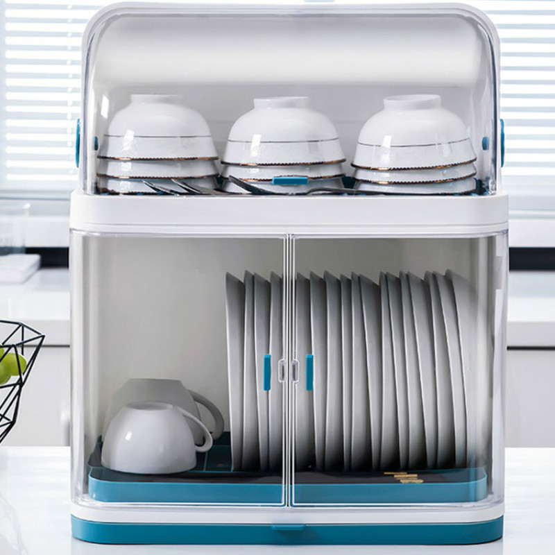 Household Dish Drain Rack With Lid Kitchen Dish Rack Tableware Storage Box Plastic Cupboard LB11281