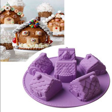 6 Holes Bakeware 3D Houses Gingerbread Cookies Cake Mold Silicone Baking Christmas Chocolate Decorating Tools(China)