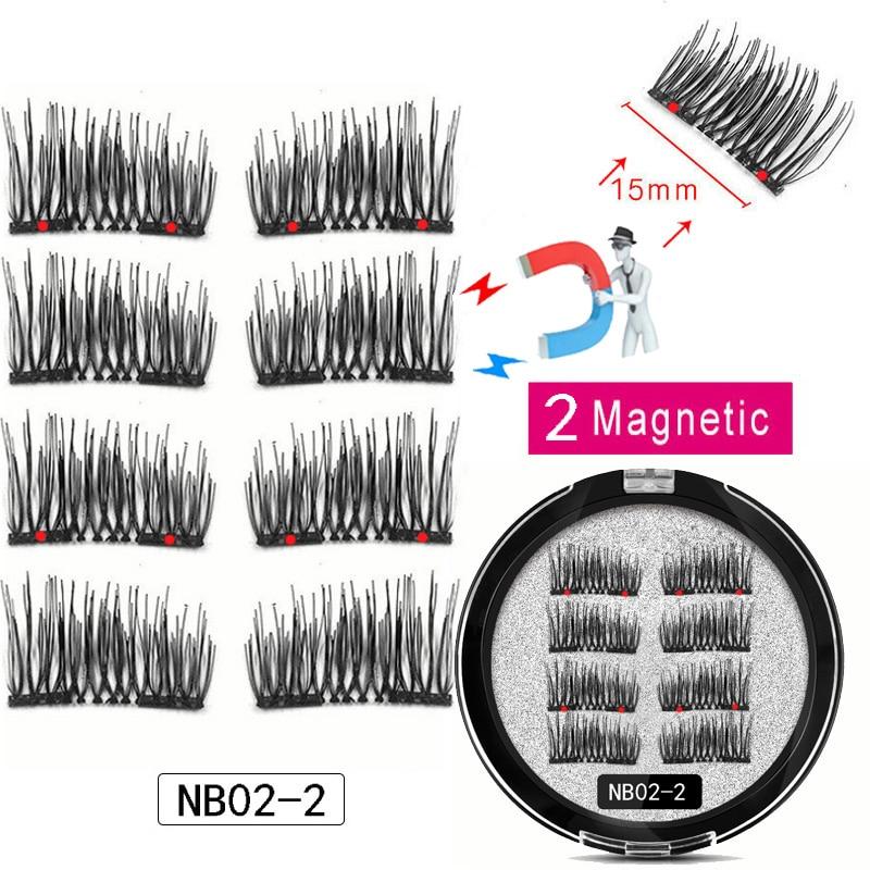 LEKOFO 8Pcs Magnetic Eyelashes With 2 magnetic lashes 3D False Natural For Mink Eye lashes Extension Long faux cils magnetique 2