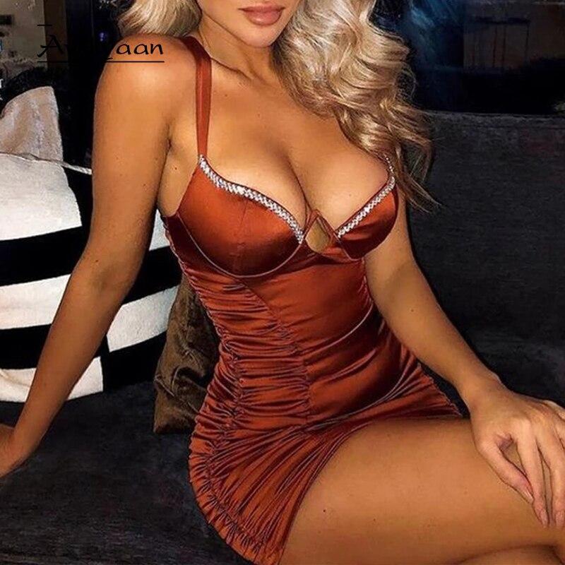 Avrilyaan marrom diamantes plissado sexy bodycon vestido para as mulheres sem costas mini vestido de verão vestidos 2020 noite clube vestidos de festa
