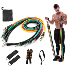 11 pcs Yoga Band Tube Resistance Bands Set Fitness Elastic Rubber Training Workout Expander Pull Rope Gym Equipment