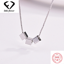цена на S925 Sterling Silver Necklace Zicon Pendant Jewelry for Women Naked Square Pendant Chain Bizuteria Gemstone 925 Sliver Pendant