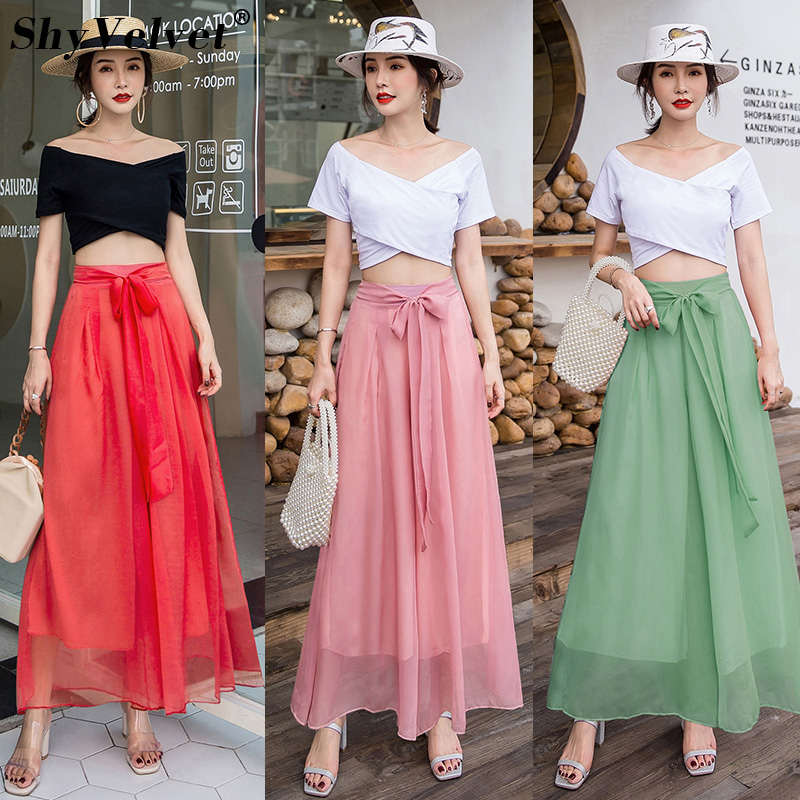 Loose Wide Leg   Pants   Women Elastic High Waist Beach   Pants   Bohemian Style Silk Chiffon Trouser Casual Long   Pants     Capris   Female