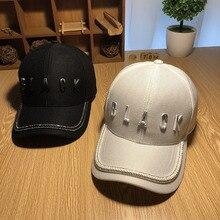 Men women snapback cap metal letters black baseball hat rhin