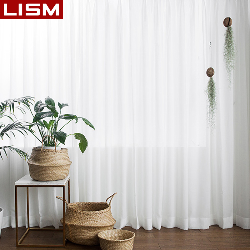 LISM White Sheer Curtains For Living Room Tulle Curtain Bedroom Window Treatment Finished Voile Drape Decoration