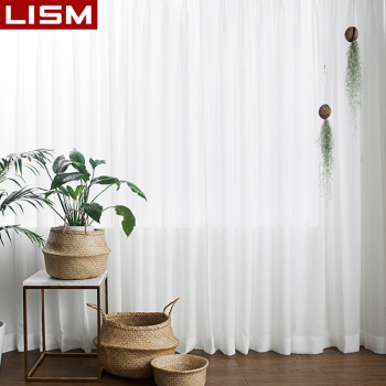 LISM White Sheer Curtains For Living Room Tulle Curtain Bedroom Window Treatment Finished Voile Drape Decoration - discount item  76% OFF Home Textile
