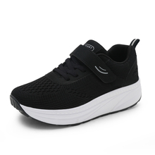 2021 Lace Up Women Toning Shoes Height Increasing Non-Slip Wedge Heel Sneakers Mesh Thick Sole Trainers Female Shake Shoes