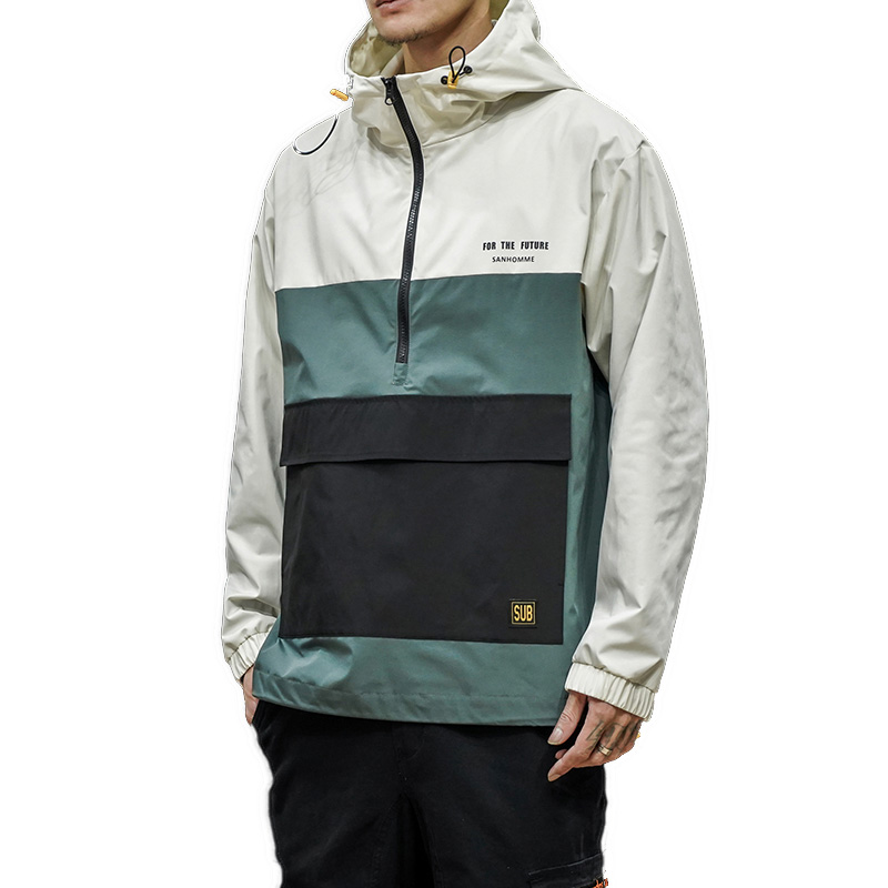 Men Hoodies Jacket 2020 Half Ziper Pullover Mens Hip Hop Streetwear Hooded Jacket Male Spring Coats & Jackets Windbreaker M-5XL
