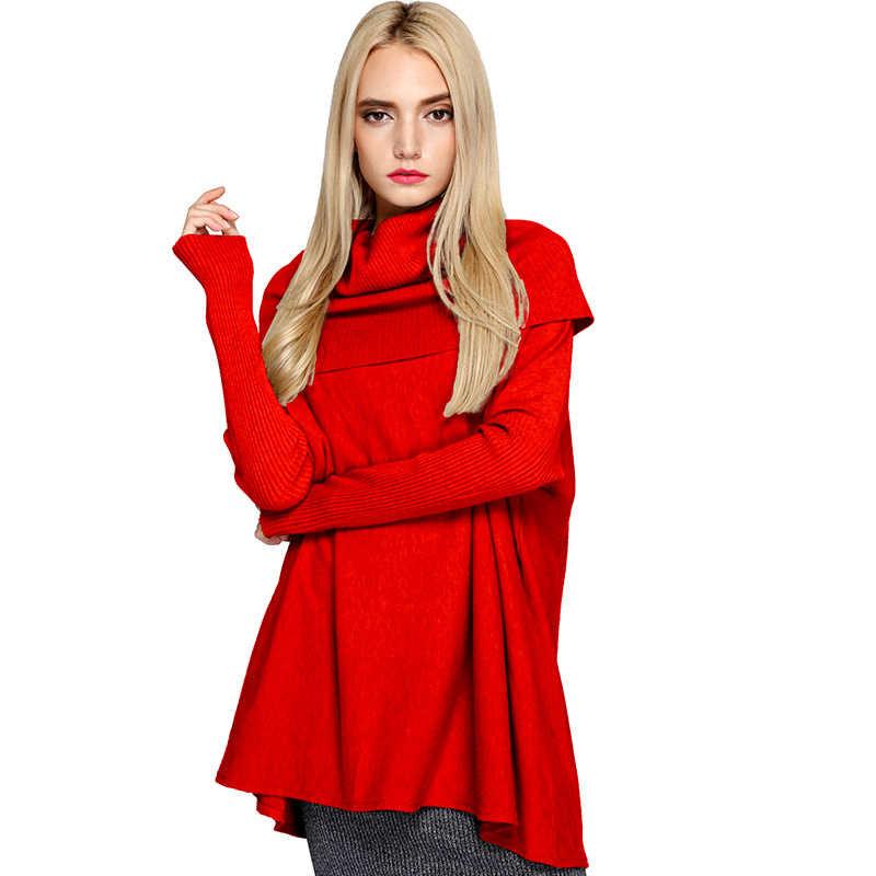 Nova moda outono mulheres camisolas e pulôveres tamanho grande manga longa feminino solto gola alta casual camisola lwl524