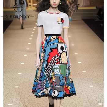 SEQINYY Female Set 2020 Summer Spring New Fashion Design Women Cartoon White Tee + Print Long Skirt Lace Casual Suit Runway casual glasses print tee in white