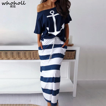 Women Two Piece Sets Boat Anchor Print T-shirt & Striped Skirt Ankle-length Fashion Street Wear Casual Maxi Skirts