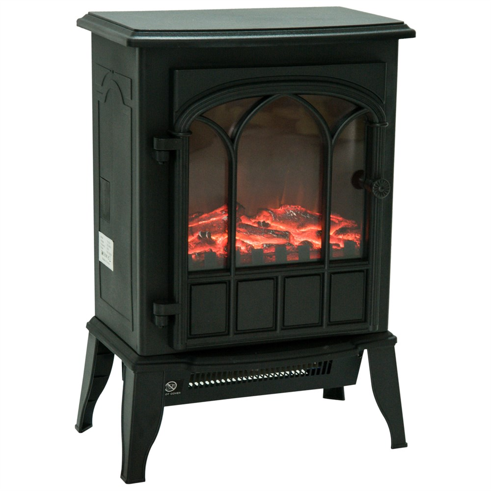 HOMCOM Floor Fireplace Electric Power 1000 W/2000 W With Effect Brightness Adjustable Iron And Glass Wood 41.5 × 28 × 54cm