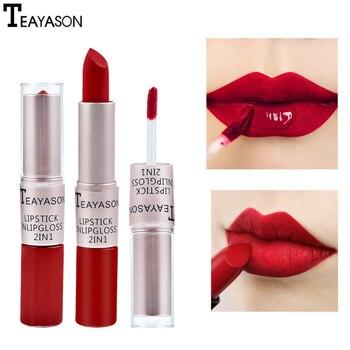 Teayason 2-em-1 cabeça dupla longa duração matte pasta de feijão cor fosco brilho labial líquido batom matiz lábios maquiagem forro tslm1