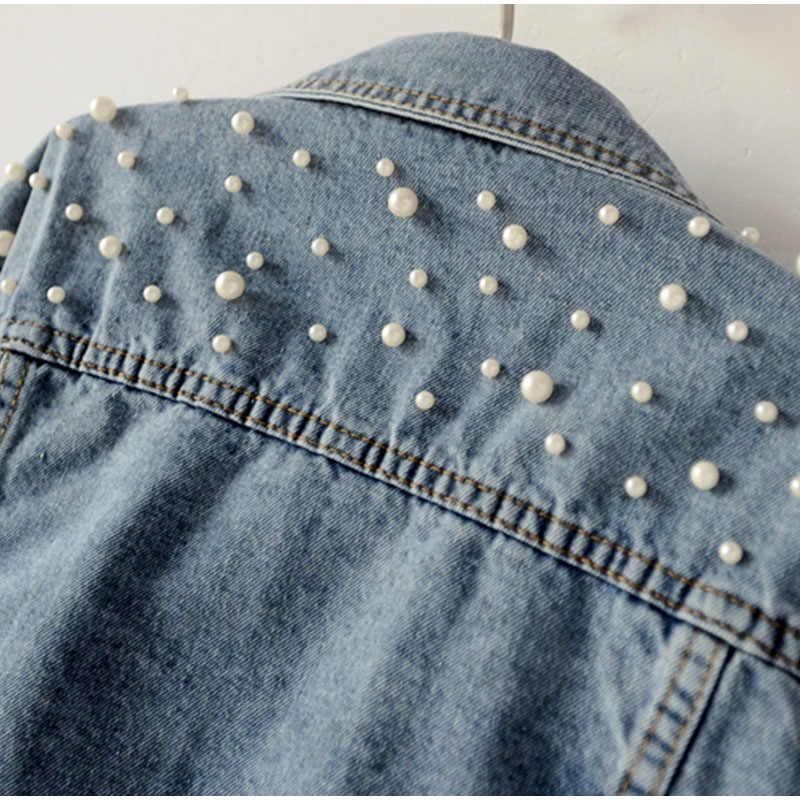 Plus Größe Perle Perlen Kurze Denim Jacken 3Xl 5Xl Frauen Weiß Waschen Langarm Vintage Casual Jean Jacke Bomber Denim mantel