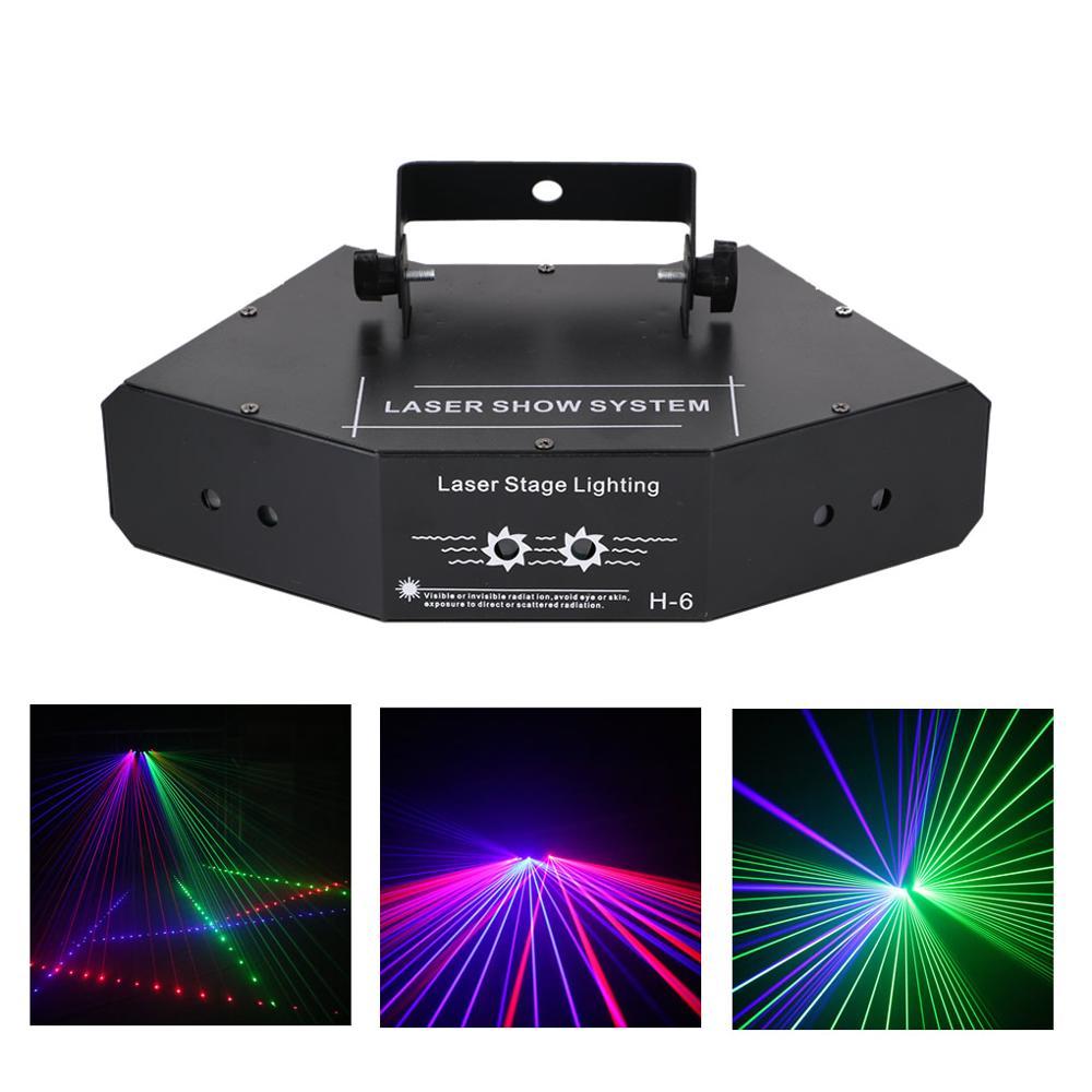 AUCD 6 Lens RGB Meteora Doccia In Movimento Fascio di Raggi Della Lampada 8 CH DMX Della Fase del Laser a Casa di Illuminazione Della Discoteca del DJ Del Partito spettacolo di Luci LED Effetto A X6