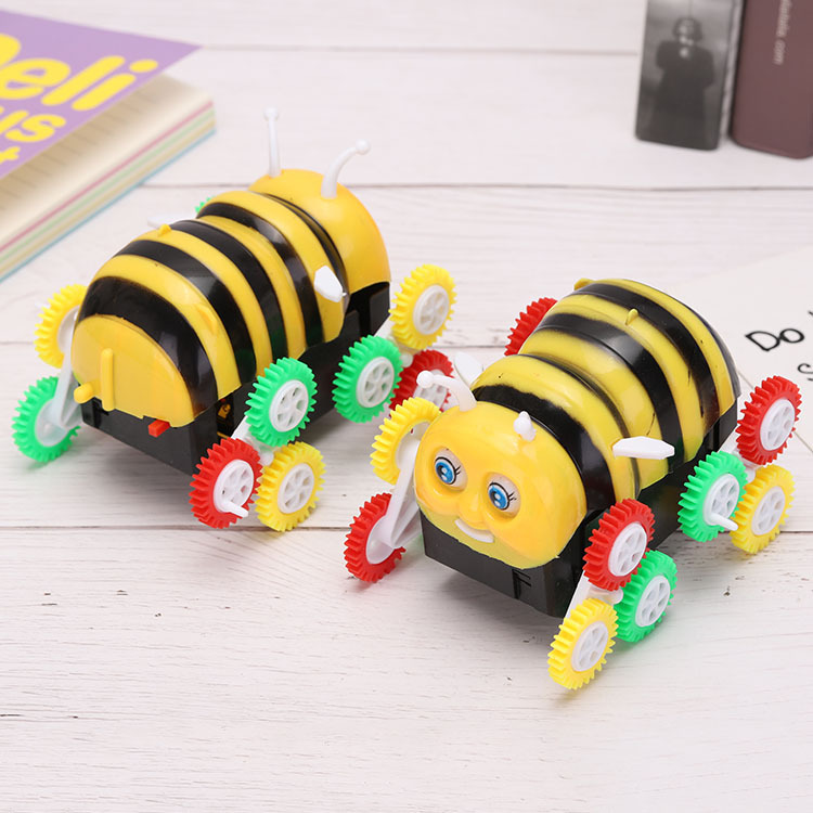 New Products Children's Day Hot Selling Electric Caterpillar Tilting Small Bee Night Market Stall Toy Car Students Prizes Gift