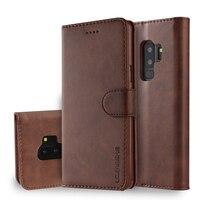 Funda de cuero para Samsung Galaxy S9 Plus, carcasa de cuero Vintage para teléfono Samsung S9 Plus, billetera con tapa para Samsung S 9 S9 +