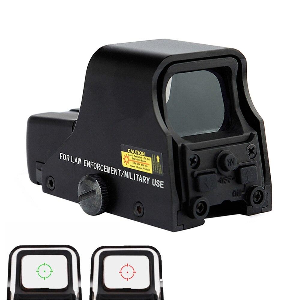 Spike Preto Fosco Tático 1X22mm Holographic Reflex Red Green Dot Sight Outdoor Caça Visão Âmbito Ajustável Brilho.