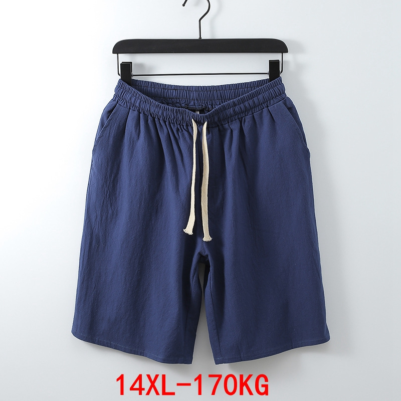 Men's Big Shorts Plus Size 11XL 12XL 13XL 14XL Summer Linen Large Stretch Sports Casual Loose 60 Black Shorts
