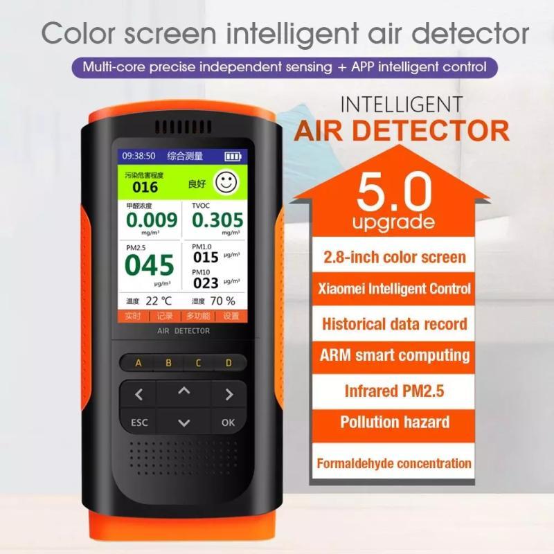 Портативный анализатор газа, цифровой ЖК-монитор качества воздуха, анализатор углекислого газа, TVOC HCHO PM2.5 метр