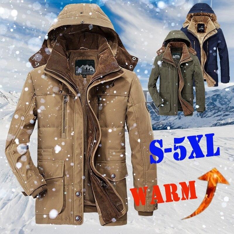 Men's Jackets Coat Hat Outwear Parkas Hooded Jaqueta Fleece Thicken Warm Man Detachable