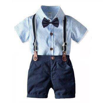 Conjunto de vestido de una pieza para niños, conjunto de babero Harajuku con pajarita, vestidos de fiesta de cumpleaños de Cuatro piezas, 1 2 3 4 años