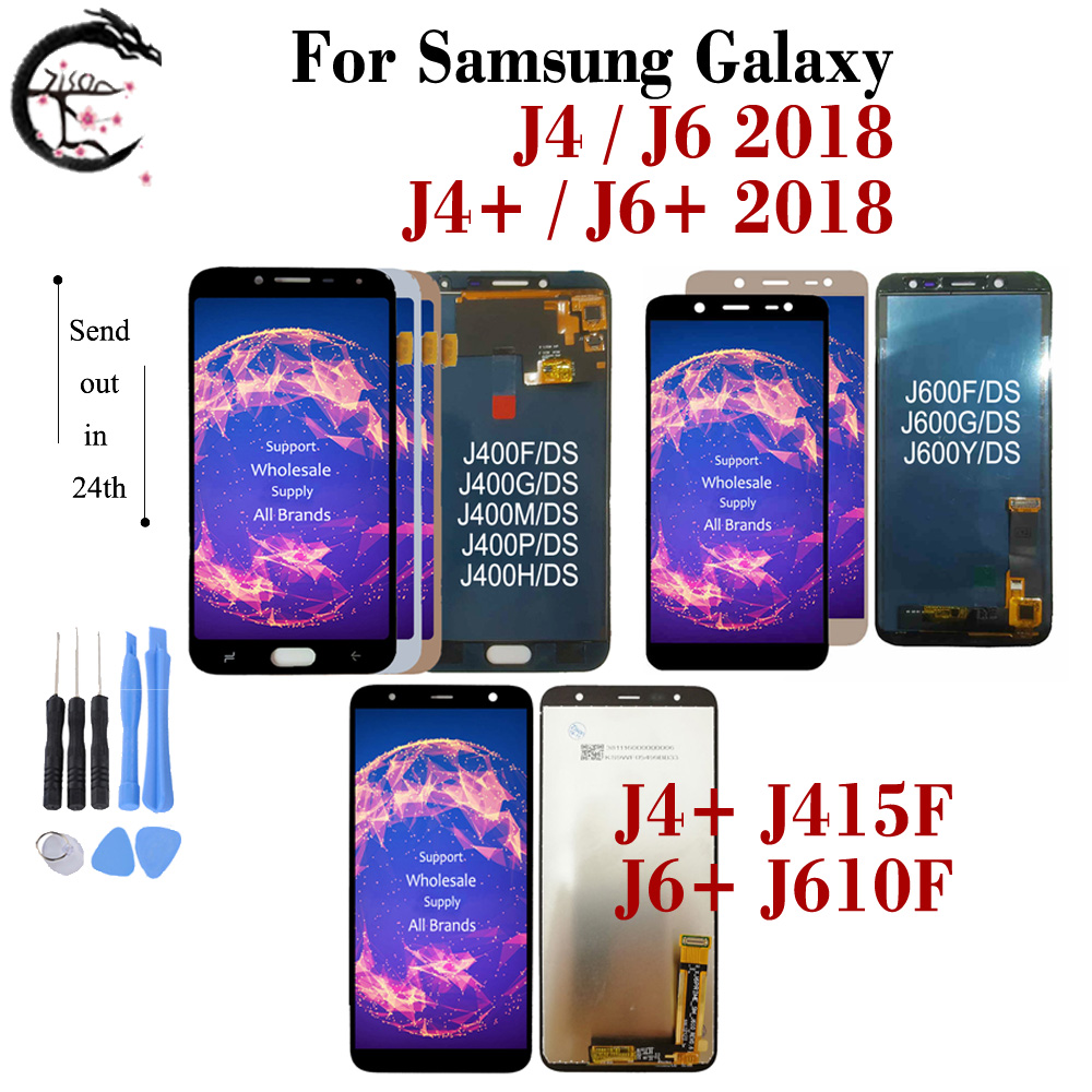 LCD For Samsung Galaxy J4+ J415F LCD J6+ J610FN Display J4 J400 J6 J600 2018 Screen Touch Digitizer Assembly J4 J6Plus LCD FrameMobile Phone LCD Screens   -